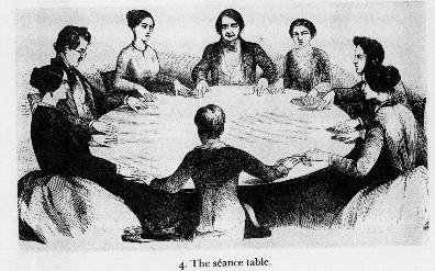 Illustration of a table-turning séance from Félix Roubaud's 1853 text, Les Danse des Tables.